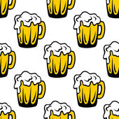 Pint of frothy beer seamless background pattern — Stock Vector