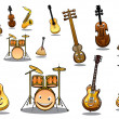 Cartoon musical instruments set — Stock Vector