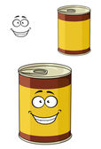 Cartoon can of tinned food with a happy smiling face — Stock Vector