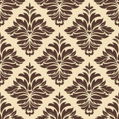 Brown and beige seamless damask pattern — Stock Vector