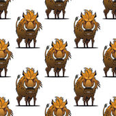 Fierce angry wild boar or warthog seamless pattern — Stock Vector