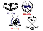 Ice hockey symbols and emblems — Stock Vector