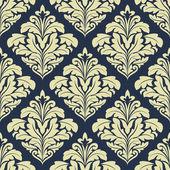 Beige and dark blue seamless damask pattern — Stock Vector