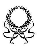 Black foliate circular wreath with ornate ribbons — Vecteur