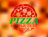Pizza label on red colorful background — Stock Vector