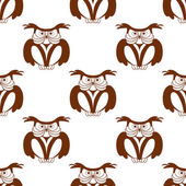 Wise old owl seamless background pattern — Stock Vector