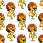 Lion with a cheesy toothy grin seamless pattern — Stock Vector