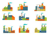 Factories and plants set — Stock Vector