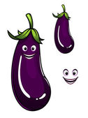 Happy healthy purple eggplant or aubergine — Stock Vector