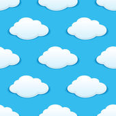 White fluffy clouds in a blue sky seamless pattern — Stock Vector