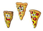 Cartoon pizza slices — Stock Vector