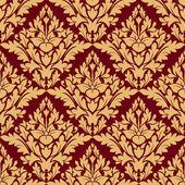 Maroon and orange damask seamless pattern — Stockvektor