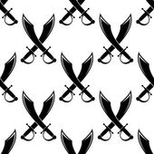 Crossed swords or cutlass seamless pattern — Stock Vector