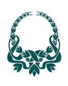 Teal colored foliate circular wreath — Vecteur