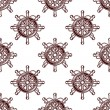 Seamless pattern of an old-fashioned ships wheel — Stock Vector