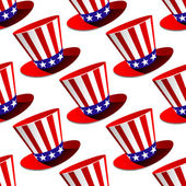 Patriotic American top hat seamless pattern — Stock Vector