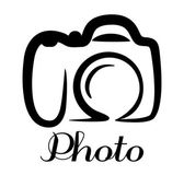 Photo camera emblem — Vector de stock