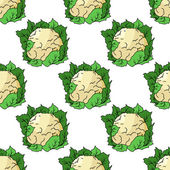 Fresh whole cauliflower seamless pattern — 图库矢量图片