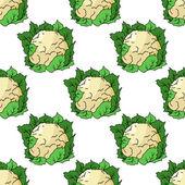 Fresh whole cauliflower seamless pattern — Stock Vector