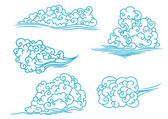 Fluffy clouds set — Stock Vector