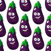 Happy eggplant or aubergine seamless pattern — Vecteur