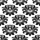 Damask seamless pattern with bold black motifs — Stock Vector