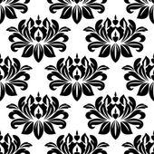 Damask seamless pattern with bold black motifs — Vetorial Stock