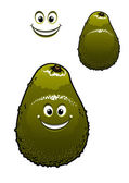 Happy little green cartoon avocado fruit — Stock Vector