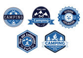 Camping emblems and labels for travel design — Vecteur