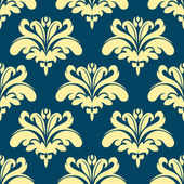 Blue and yellow damask seamless pattern — Stock Vector