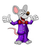 Happy cartoon mouse or rat in a suit — Stock Vector