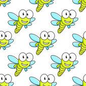 Kleurrijke dragon fly naadloze patroon — Stockvector