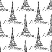 Eiffel Tower seamless background pattern — Stock Vector