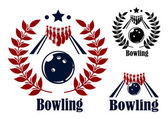 Bowling emblems and symbols — Stock Vector