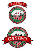 Casino roulette with gambling elements — Stock Vector