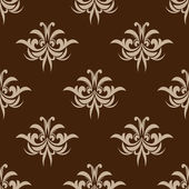 Brown seamless floral pattern in damask style — Stock Vector