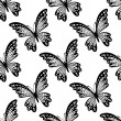 Black and white seamless pattern of butterflies — Stock Vector #49180311