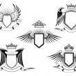 Set of heraldic winged shields — Vetorial Stock