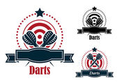 Darts sports emblems with banners — Stock Vector