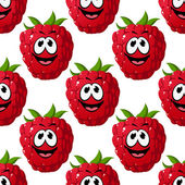 Happy ripe red raspberry seamless pattern — Stock Vector