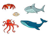 Set of marine sea life animals — Stock Vector