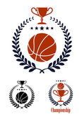 Basketball sporting emblems and symbols — Stock Vector