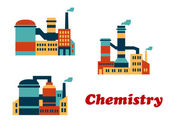 Colorful flat buildings of chemical factories or plants — Stock Vector