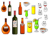 Beverage icons in cartoon style — Stock Vector