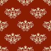 Yellow floral seamless pattern with red background — Stock Vector