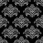 White colored floral paisley seamless pattern background — Stockvector