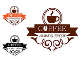 Coffee Always Fresh vector label — Stock Vector