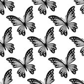 Black and white seamless pattern of butterflies — Stock Vector