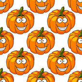 Happy smiling fresh pumpkin seamless pattern — Stock Vector