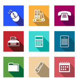 Flat office supply icons — 图库矢量图片